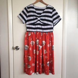 Rockabilly Xmas Cats! Cute Holiday Dress Sz 14/16